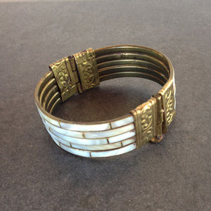 Jewelry - Vintage Hammered Brass and MOP Cuff Bracelet